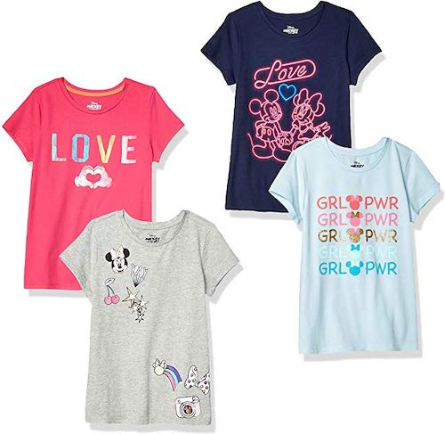 Spotted Zebra by Disney Girls' Toddler and Kids Mickey and Minnie Mouse 4-Pack Short-Sleeve T-Shirts