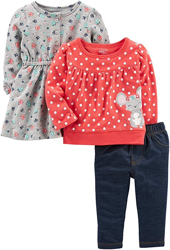 Simple Joys by Carter's Baby Girls' 3-Piece Long-Sleeve Top, Dress, and Pants Playwear Set