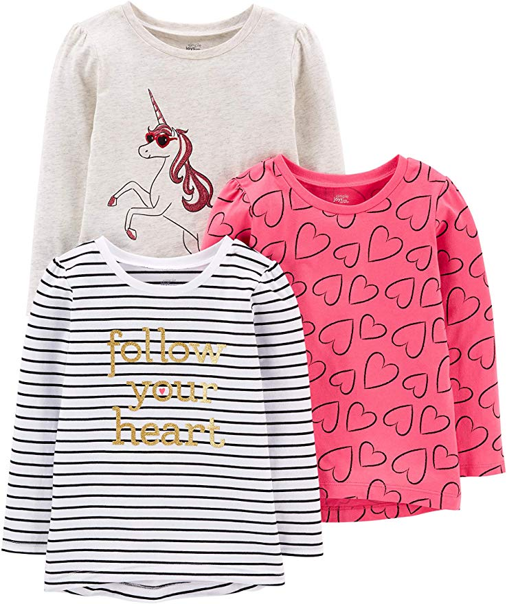 Simple Joys by Carter's Toddler Girls' Graphic Long-Sleeve Tees