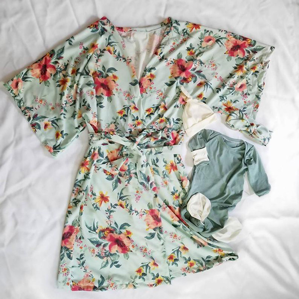 Mommy and Me Hospital Set hospital robe floral print Matching Hospital Set delivery robe Maternity Robe and Swaddle Set baby blanket