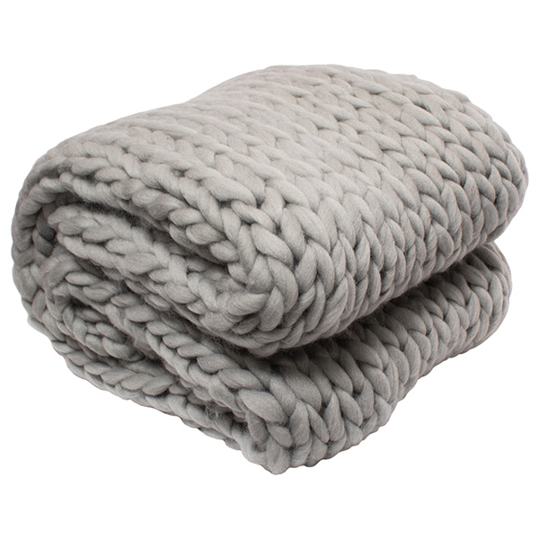 Silver One Super Chunky Knitted Throw Blanket