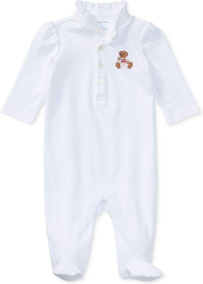 Ralph Lauren Polo Baby Girls Embroidered Bear Coverall