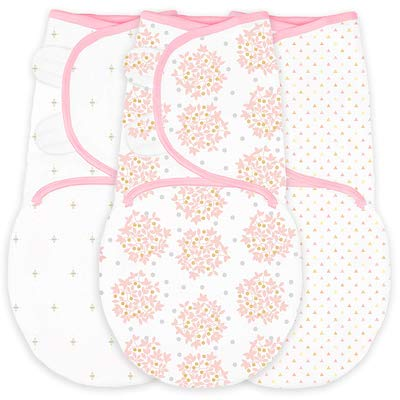 SwaddleDesigns Swaddle Blanket with Adjustable Wrap, Set of 3 in Pink Heavenly Floral