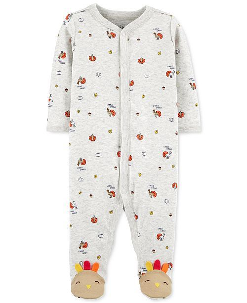 Carter's Baby Turkey-Print Cotton Footed Coverall