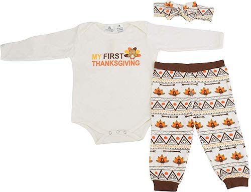 Unique Baby Girls My First Thanksgiving Layette Set with Headband