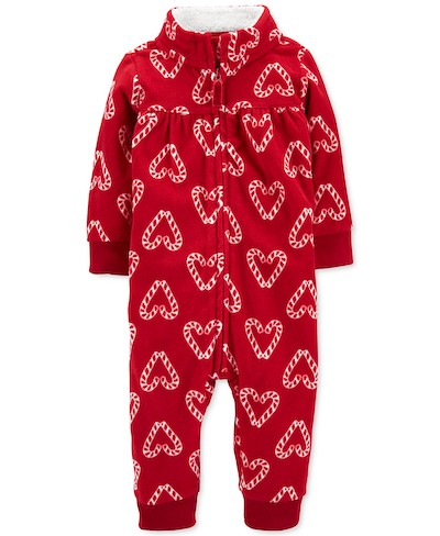 Carter's Baby Girls' Candy Cane Fleece Coverall