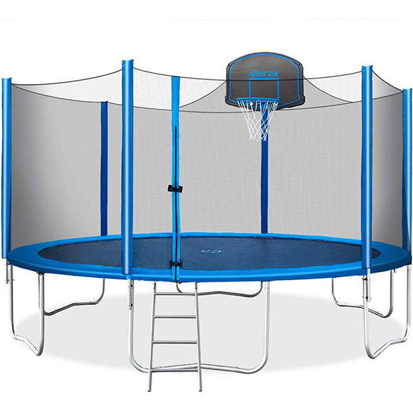 Trampoline with Safety Enclosure and Basketball Hoop