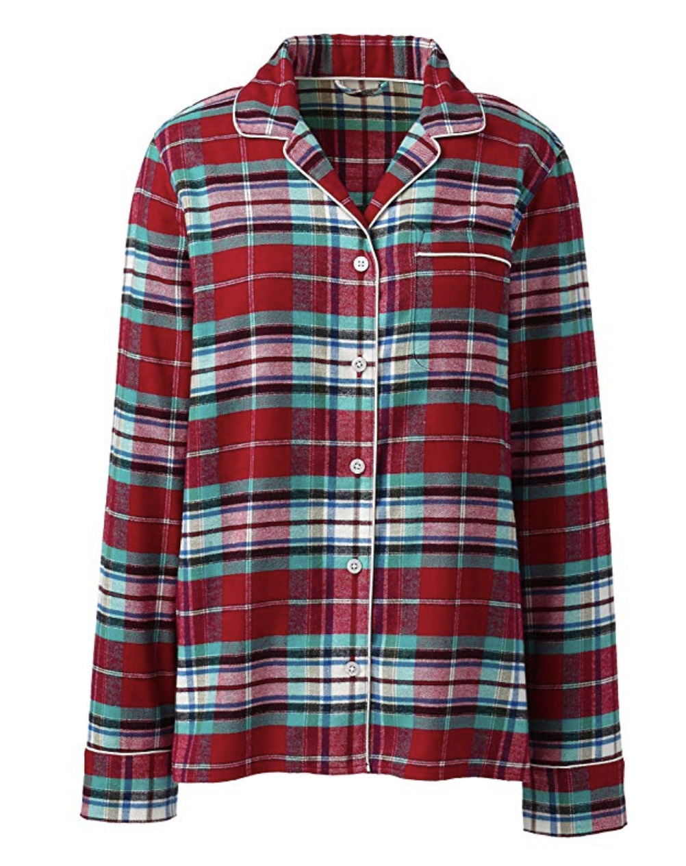 Land's End Women's Plus Size Print Flannel Pajama Top