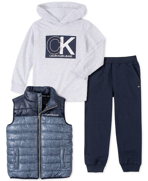 Calvin Klein Jeans Toddler Boys 3-Pc. Quilted Colorblocked Vest, Hooded Logo T-Shirt & Fleece Sweatpants Set