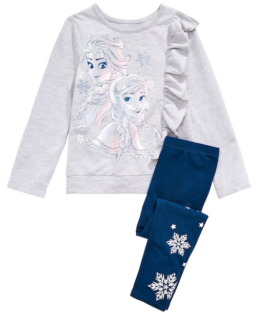 Disney Little Girls Two-Piece Elsa & Anna Top and Snowflake-Print Leggings Set