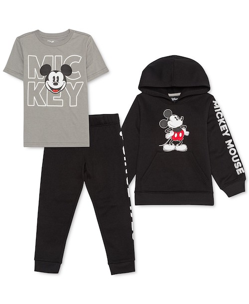 Disney Toddler Boys Three-Piece Mickey Mouse Hoodie, T-Shirt & Joggers Set