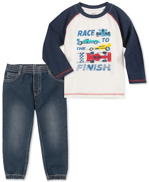 Kids Headquarters Toddler Boys Two-Piece Race To The Finish T-Shirt and Denim Joggers Set