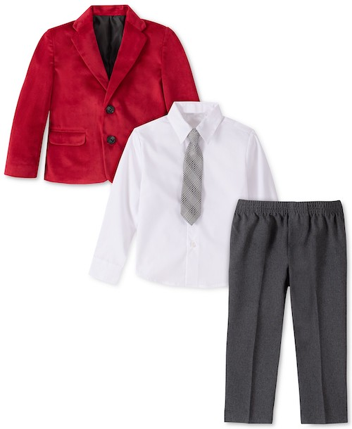 Nautica Little Four-Piece Boys Regular Red Velvet Suit Set