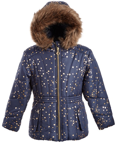 S. Rothschild & Co. Toddler Girls Hooded Foil-Print Jacket With Faux-Fur Trim