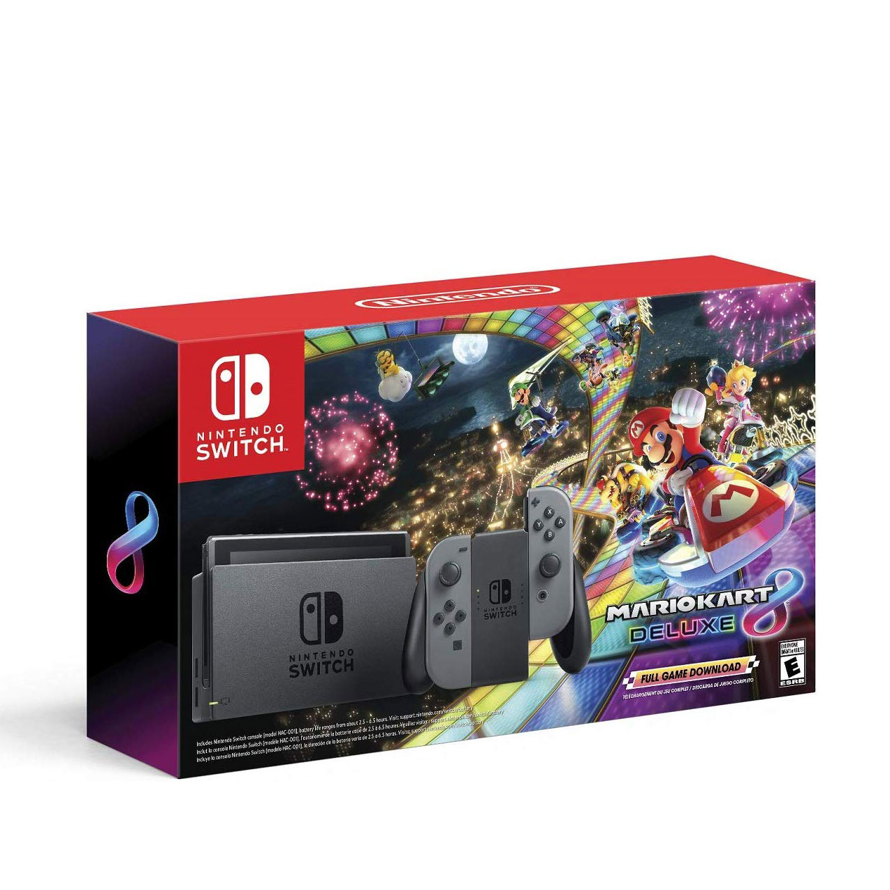 Nintendo Switch w/ Gray Joy-Con + Mario Kart 8 Deluxe