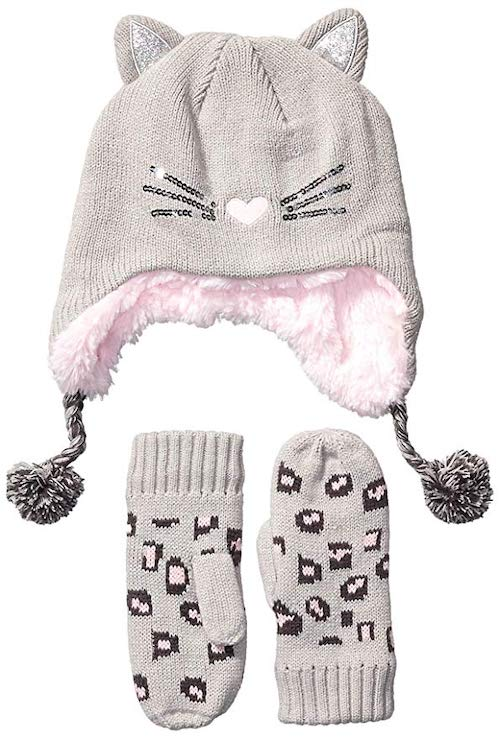 Spotted Zebra Kids' 2-Piece Sweater Cold Weather Trapper and Mittens Set