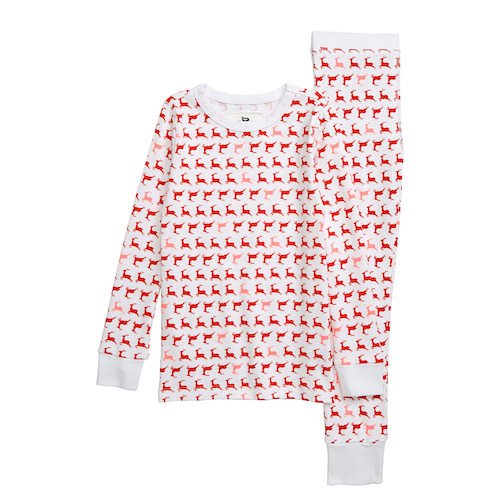 Crewcuts by J. Crew Prancing Reindeer Fitted Two-Piece Pajamas