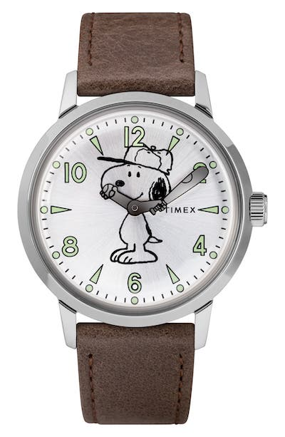 Timex x Peanuts Welton Vintage Snoopy Leather Strap Watch