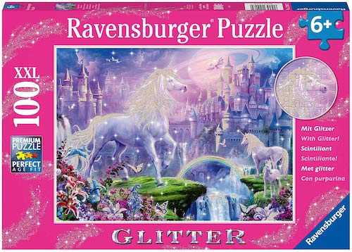 Ravensburger Unicorn Kingdom 100 Piece Glitter Jigsaw Puzzle for Kids