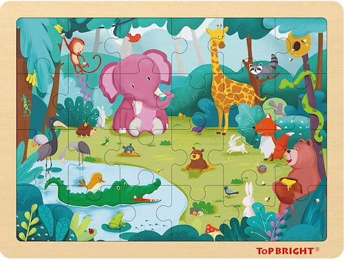 TOP BRIGHT Forest Animals Wooden Jigsaw Puzzle