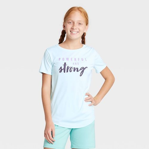 Target All in Motion Girls' Short-Sleeve Powerful and Strong Graphic T-Shirt