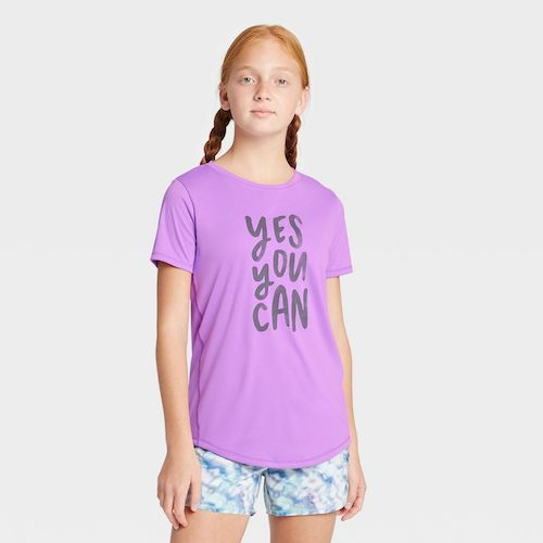 Target All in Motion Girls' Short-Sleeve Yes You Can Graphic T-Shirt