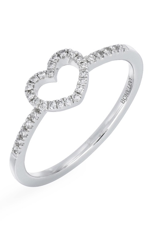 Carriere Sterling Silver Pave Diamond Open Heart Ring