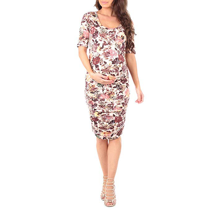 Mother Bee Maternity Women's Ruched Maternity Dress