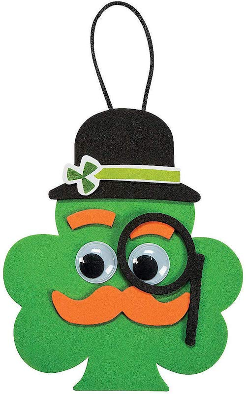 Fun Express Shamrock with Mustache Ornament Craft Kit for St. Patrick's Day (12 Pieces)