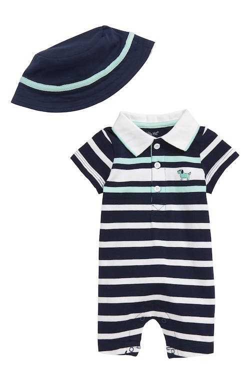 Little Me Puppy Stripe Romper and Hat Set