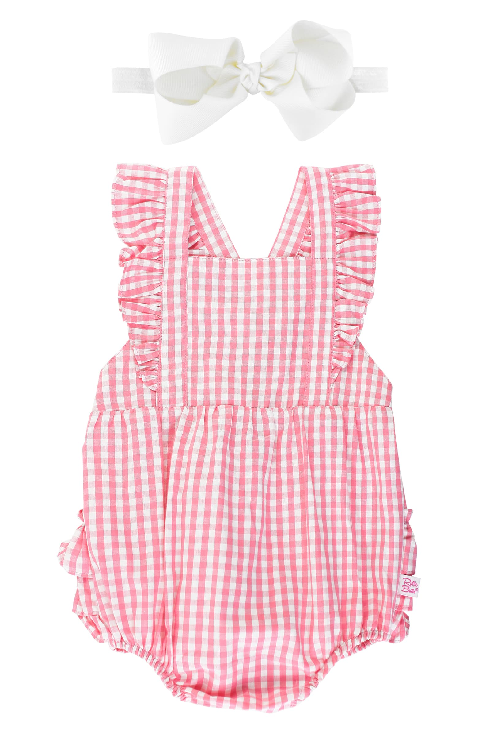 Rufflebutts Flutter Sleeve Gingham Romper & Headband Set
