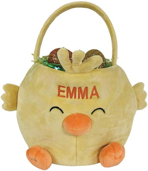 GiftsForYouNow Embroidered Chick Personalized Easter Basket