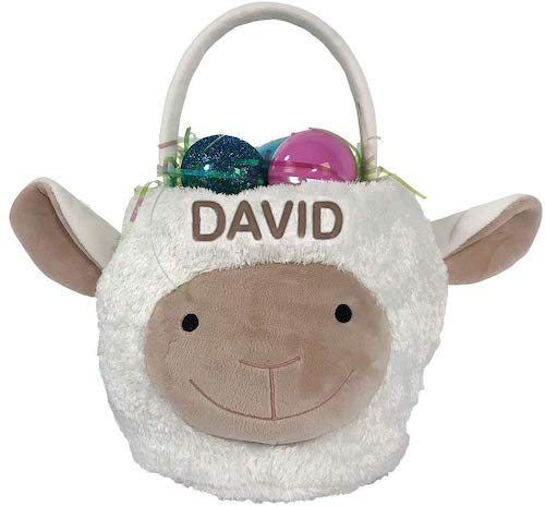 GiftsForYouNow Embroidered Lamb Personalized Easter Basket