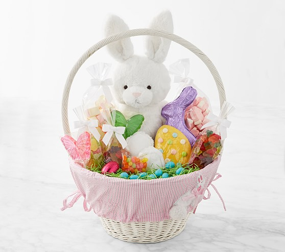Williams Sonoma & Pottery Barn Kids Large Seersucker Applique Easter Gift Basket