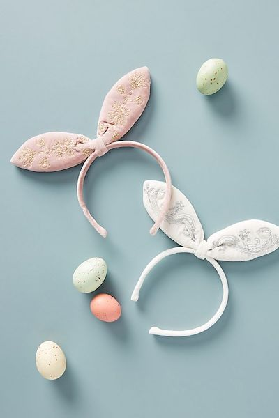 Anthropologie Velveteen Bunny Ears Headband