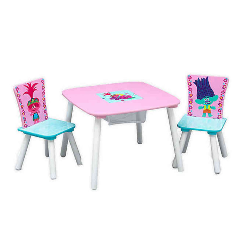 Delta Children Trolls World Tour Table and Chair Set with Storage