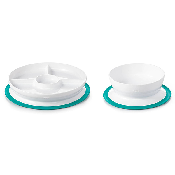 OXO Tot 2-Piece Stick & Stay Bowl and Divided Plate Set