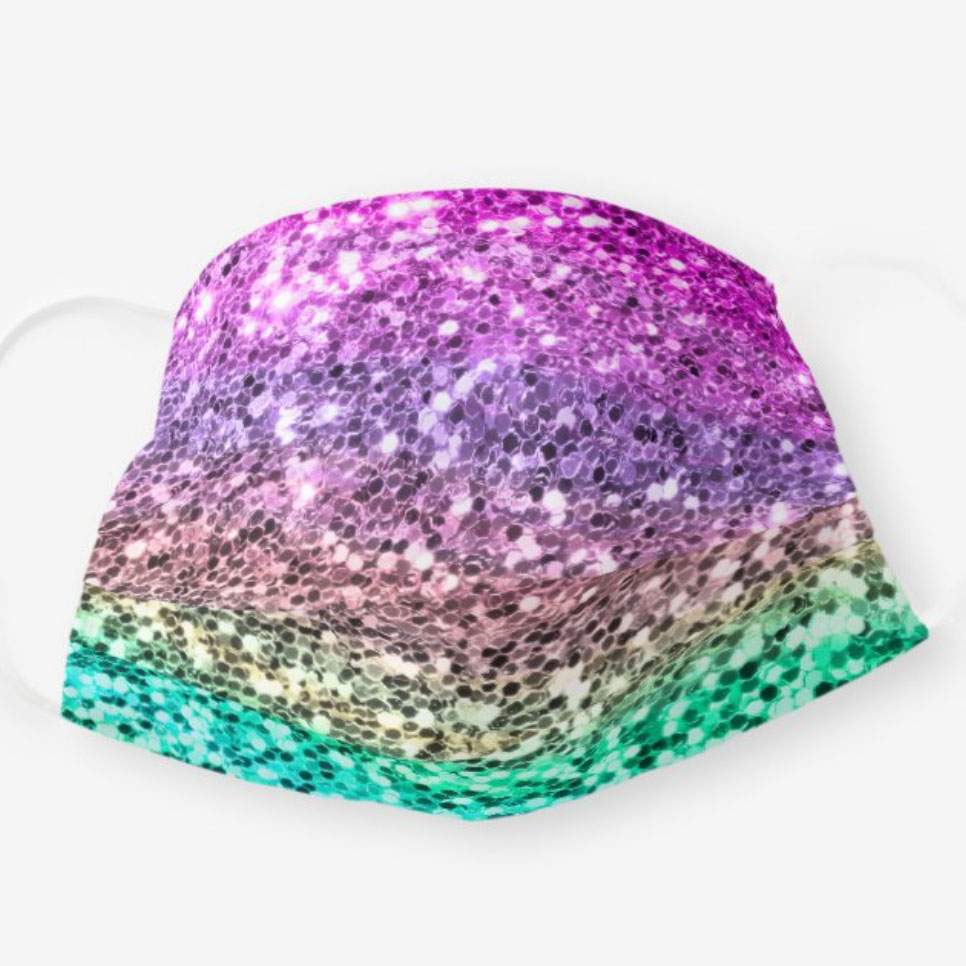 Pastel Colorful Glitter Mermaid Texture Sparkly Cloth Face Mask