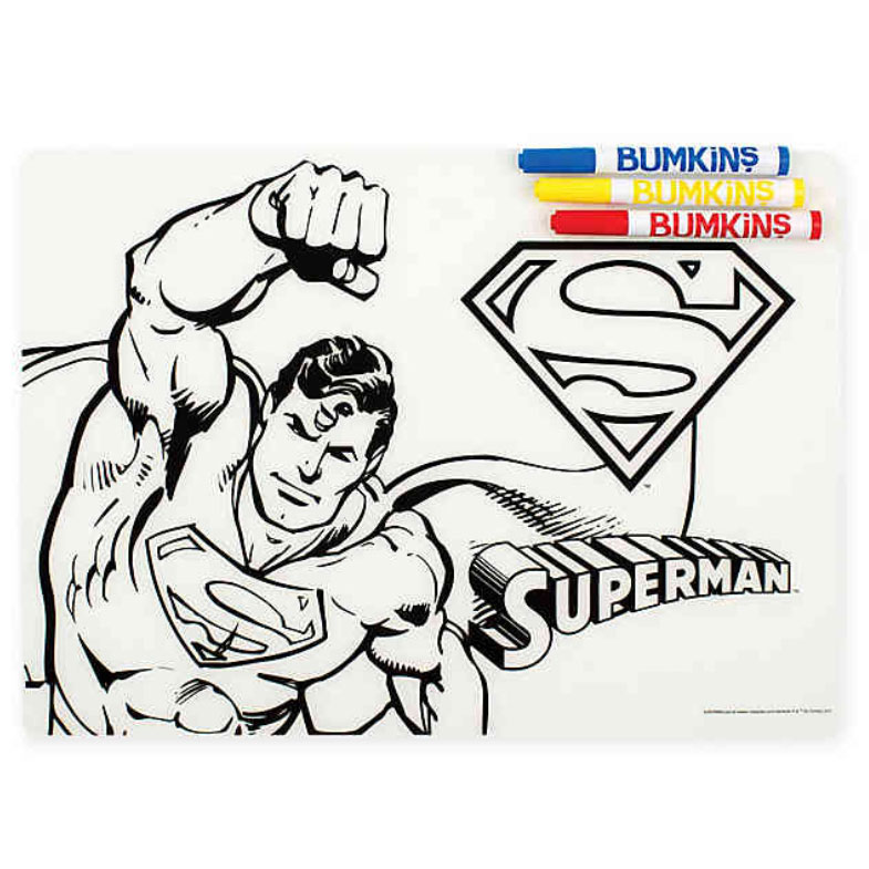 Bumkins DC Comics Superman Silicone Coloring Placemat