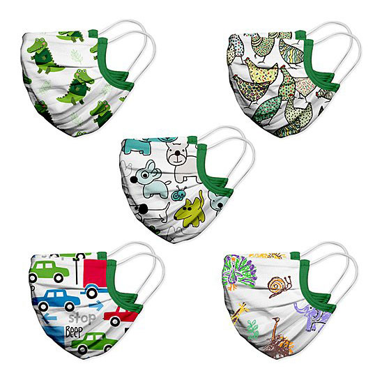 White & Green Puppy Kids Non-Medical Face Mask - Set Of Five