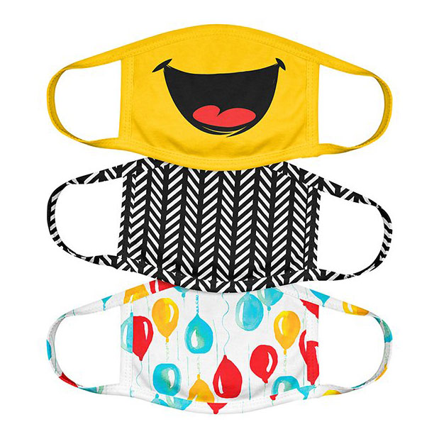 Yellow Smiley Kids Non-Medical Face Mask - Set of Three