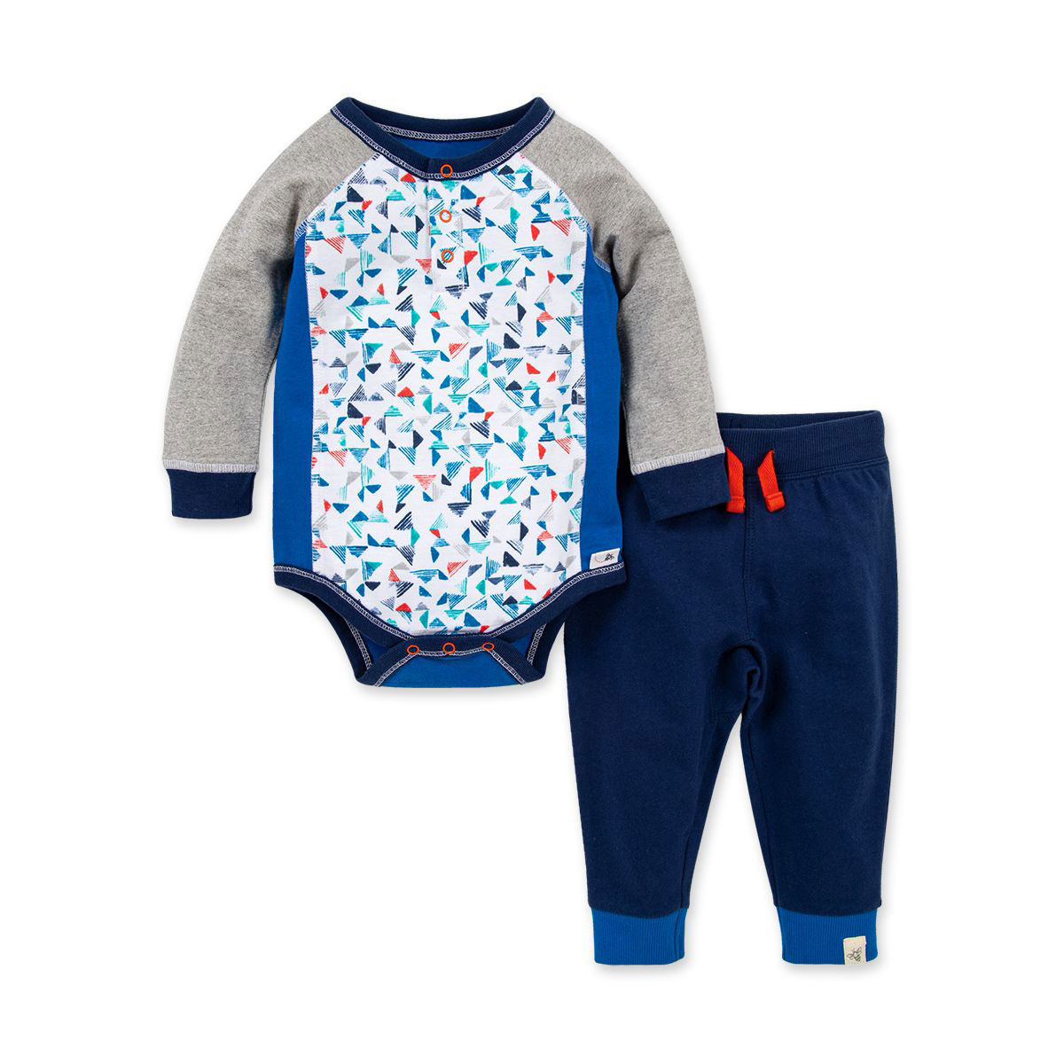 Printed Pyramids Organic Baby Henley Bodysuit & French Terry Jogger Set