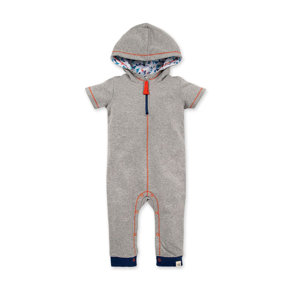 French Terry Hooded Zip Front Organic Baby Jumpsuit