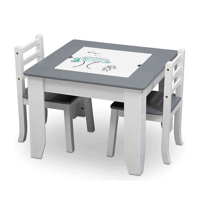 Delta Children Chelsea 3-Piece Table and Chairs Set with Storage