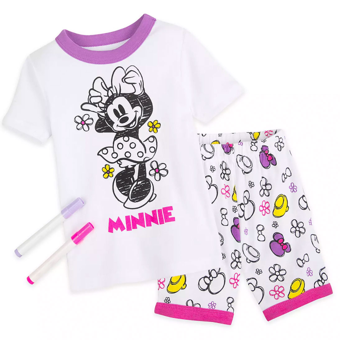 Minnie Mouse Colorable Pajama and Marker Set