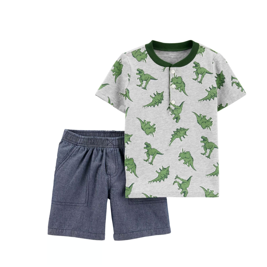 2-Piece Dinosaur Jersey Henley & Chambray Short Set