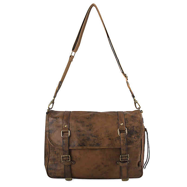 OiOi Distressed Leather Messenger Diaper Bag