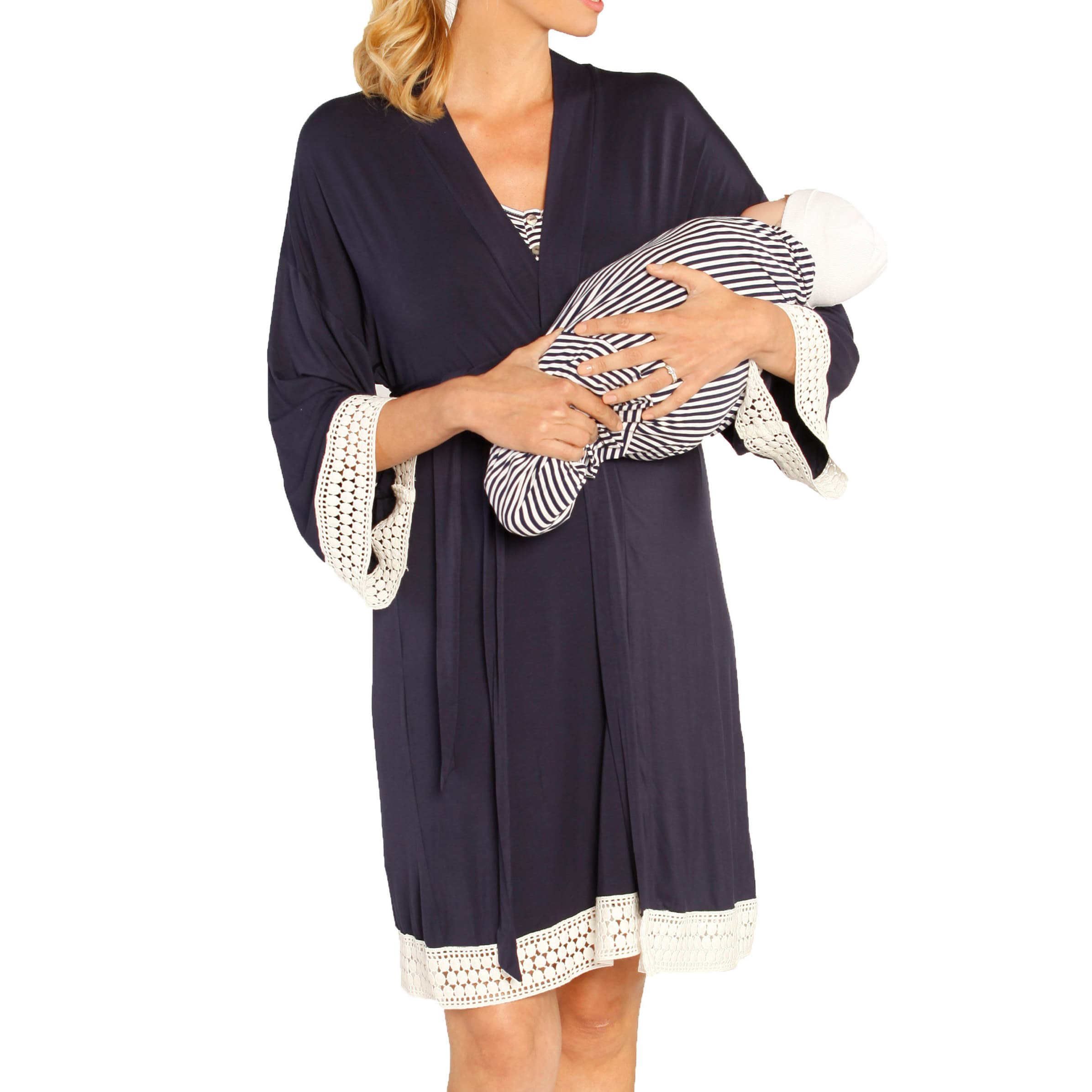 Angel Maternity Nursing Dress, Robe & Baby Blanket Set