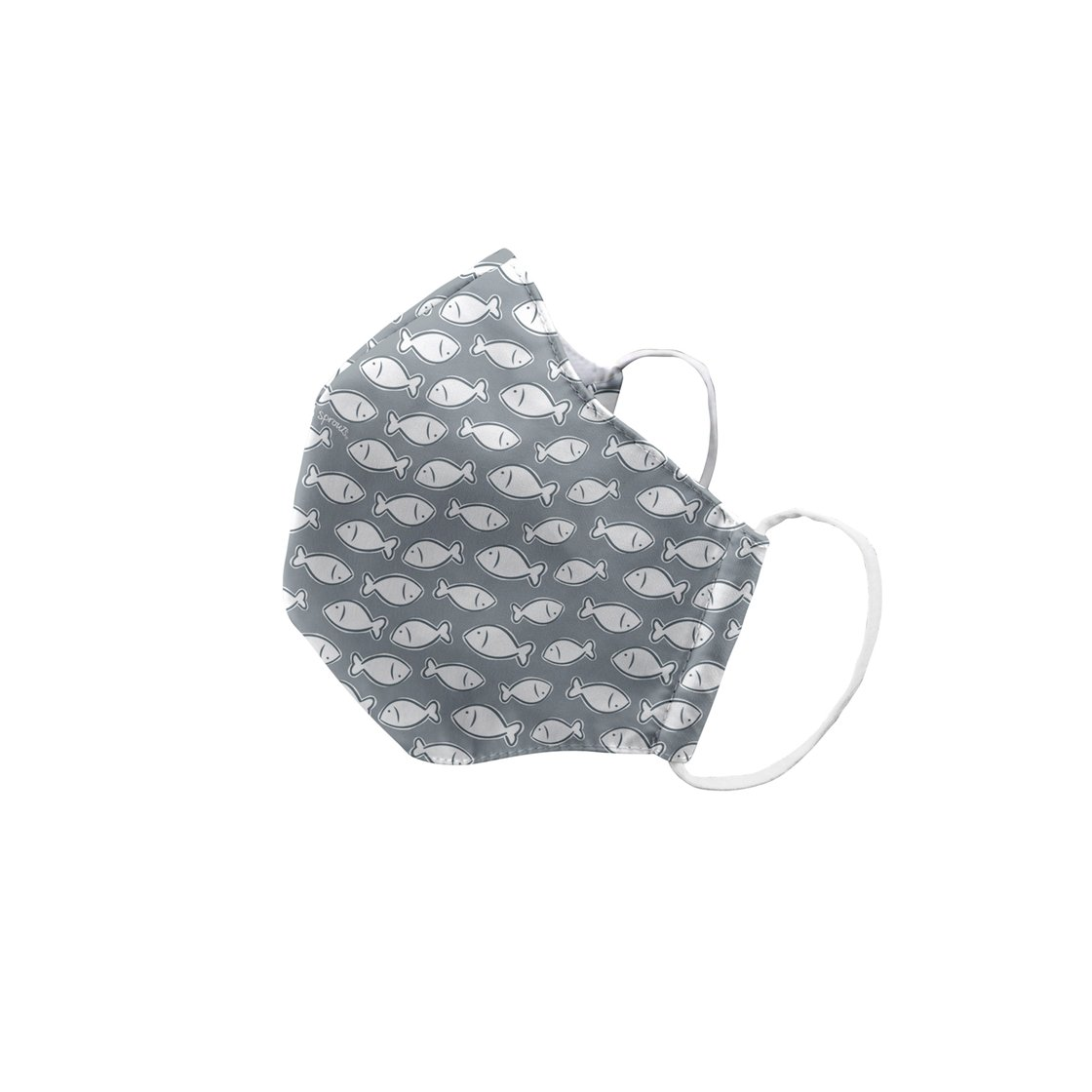 Green Sprouts Child Reusable Face Mask - Gray Fish