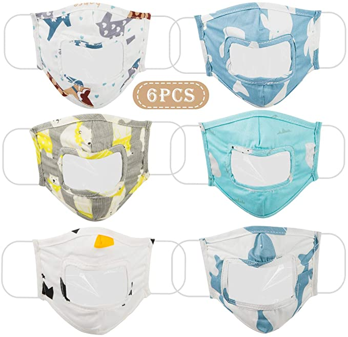 Cotton Face Covering 6-pack with Clear Window for Kids
